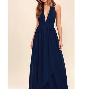 Lulu's Navy Blue Versatile Maxi Halter Dress